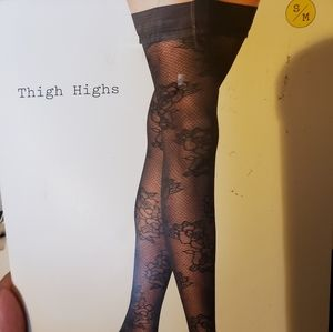 a new day Accessories - NWT Black Floral Thigh Highs